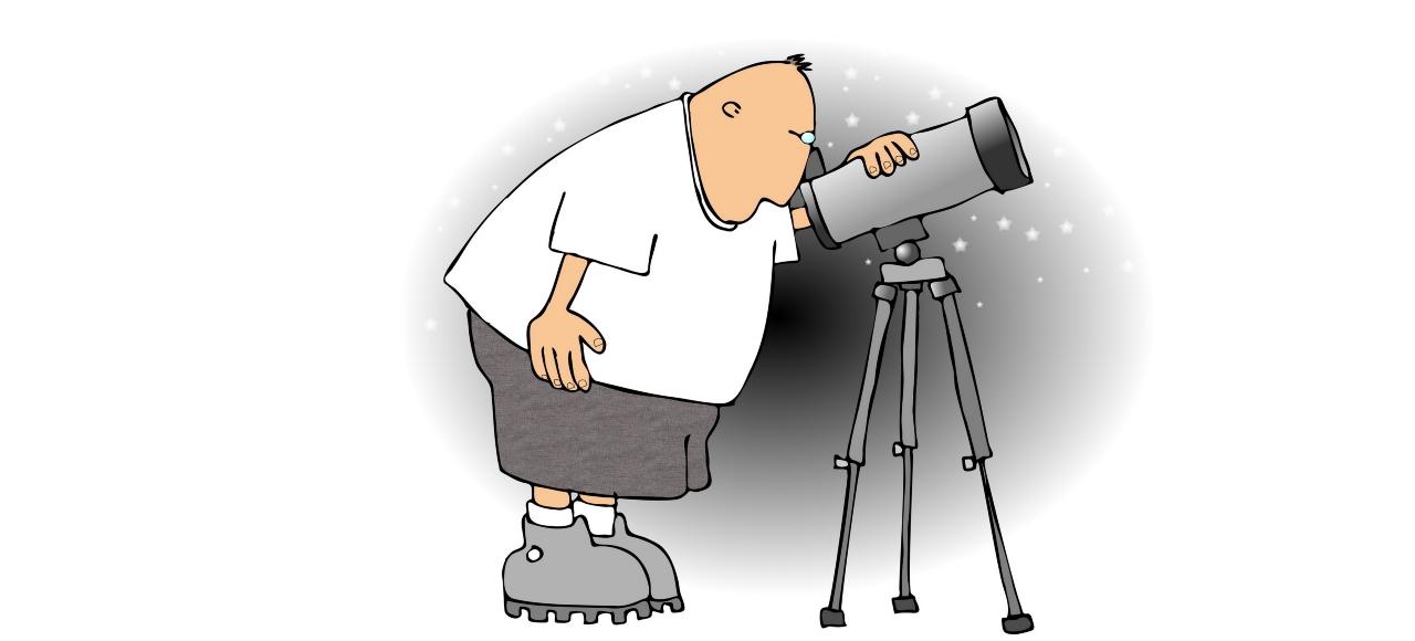 Time - Man looking through telescope